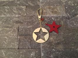 Christian Dior Stern Taschenanhänger in Rot/Gold