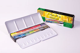 Sennelier Extra-Fine Watercolour Set of 14 Full Pans in Metal Case + 1 Brush