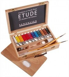 Sennelier Etude Oil Wooden Box Set - 12 tubes x 34ml + Accessories