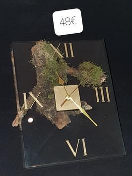 Horloge en verre rectangulaire bord biseauté