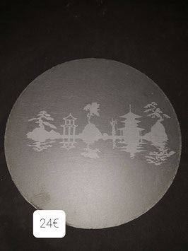 Plateau ardoise diamètre de 30 cm paysage chine