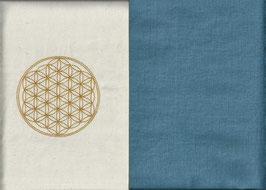 Blume des Lebens Naturweiß + Schwedenblau