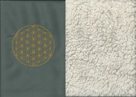 Blume des Lebens Grau + Baumwollplüsch