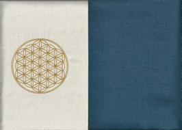 Blume des Lebens Naturweiß + Rauchblau