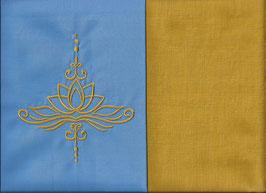 Lotusblüte Hellblau + Ockergelb