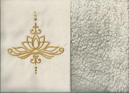 Lotusblüte Naturweiß + Baumwollplüsch