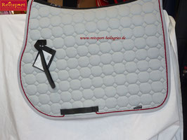 equiline Schabracke Octagon, Farbe Aluminium, Kordel: rot-silber