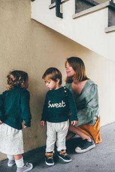 Pull brodé 'sweet' RECYCLÉ pour bébé