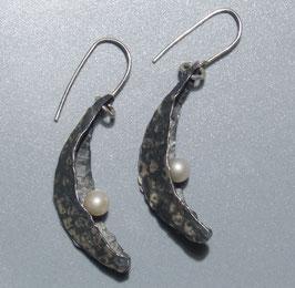 Perlenmond Ohrhänger, Silber und Perle