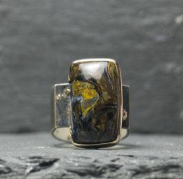 gold und silberring mit pietersit