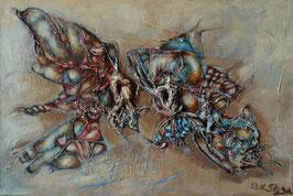 Surreale Malerei von Schmetterlingen - Acryl