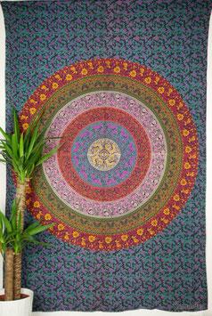 Tagesdecke Wandtuch Kreis Mandala multicolor
