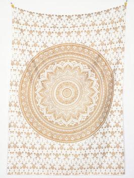 Gold Wandposter Ombre Mandala weiß
