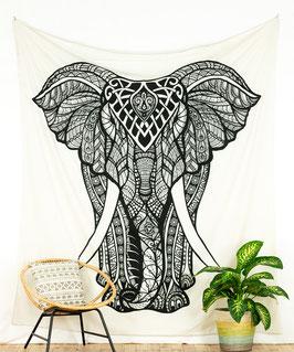 Motiv Wandbehang indischer Elefant weiss