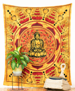 Wandbehang Lotus Buddha orange rot