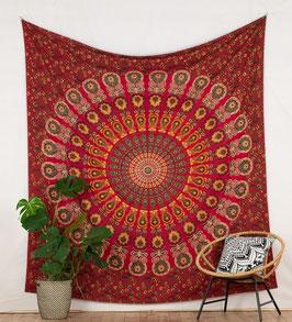 Wandbehang Pfauenfeder Mandala rot weiß