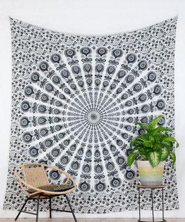 Wandbehang Pfauenfeder Mandala weiß grau