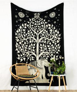 Wandtuch Elefant unter Lebensbaum schwarz weiß