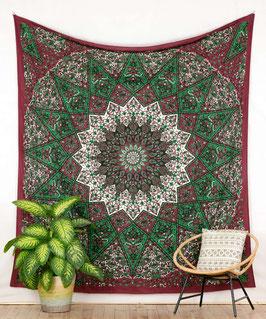 Wandbehang Stern Mandala dunkelrot grün