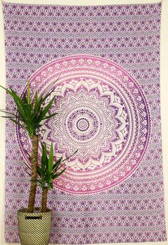 Tagesdecke Wandbehang Ombré Mandala Verlauf lila rosa