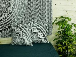 Mandala Kissen Farbverlauf schwarz grau