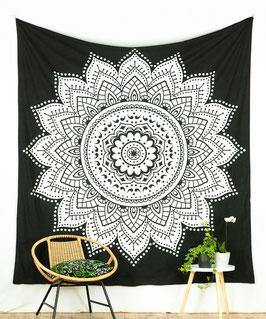 Wandbehang Lotus Mandala schwarz weiß