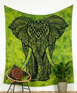 Großer Wandbehang indischer Elefant batik grün