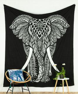 Großer Wandbehang indischer Elefant schwarz