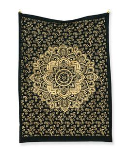 Mandala Wandposter goldener Lotus schwarz