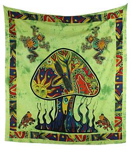 Wandbehang Magischer Pilz batik grün