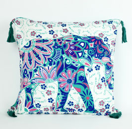 Kissenbezug mit Quaste Elefanten Design Mintgrün Rosa