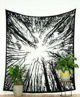 Tagesdecke Wandbehang Waldmotiv schwarz