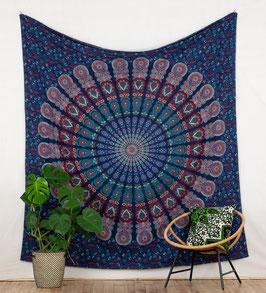 Wandbehang Pfauenfeder Mandala blau rot türkis
