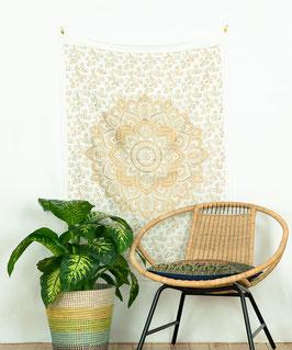 Mandala Wandposter goldener Lotus weiß