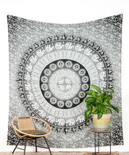 Wandbehang Elefanten Mandala grau weiß