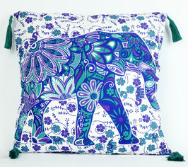 Kissenbezug mit Quaste Elefanten Design Mintgrün lila