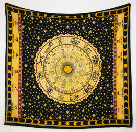 Indischer Motiv Wandbehang Sternzeichen Kreis schwarz gelb