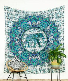 Wandtuch Lotus Elefant blau grün