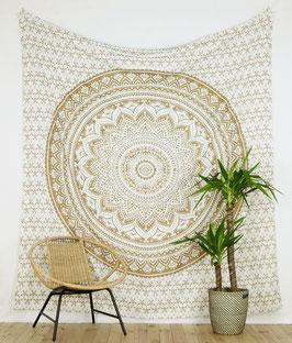 Gold Wandbehang Ombre Mandala weiß