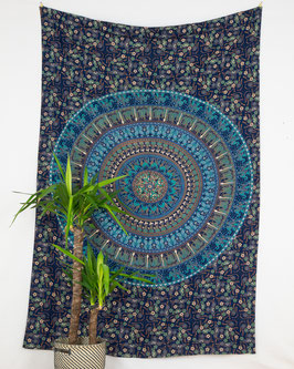 Wandtuch Kreis Mandala blau türkis