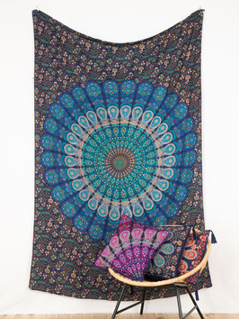 Wandtuch Pfauenfeder Mandala blau türkis