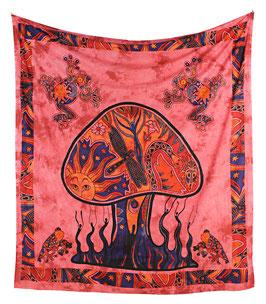 Wandbehang Magischer Pilz batik rot