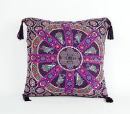 Kissenbezug mit Quaste Paisley Mandala bordeaux pink