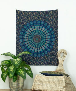 Wandposter Pfauenfeder Mandala blau türkis