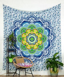 Wandbehang Lotus Mandala blau gelb