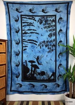 Wandtuch Elfenwald blau