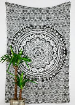 Wandtuch Ombré Mandala schwarz