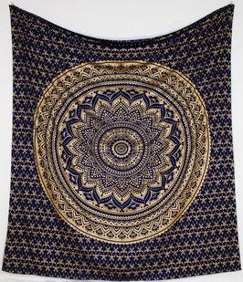 Gold Wandbehang Ombre Mandala dunkelblau