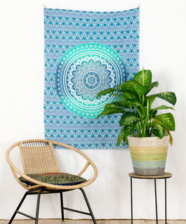 Wandposter Ombre Mandala blau türkis