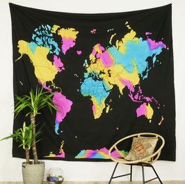Wandbehang Motiv Weltkarte batik bunt